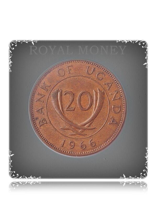 1966 20 CENTS AFRICA - UGANDA COIN