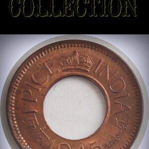 1945 1 Pice UNC Hole Coin British India King George VI