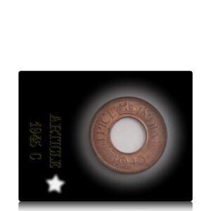 1945 1 Pice UNC Hole Coin British India King George VI Calcutta Mint
