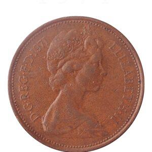 1971 2 New Pence Great Britain Coin Elizabeth II Bronze - RARE COIN