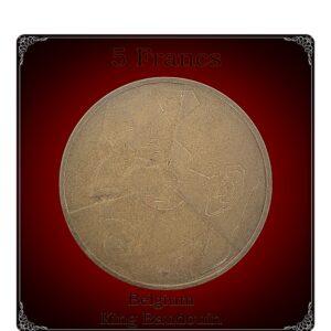 1986 5 francs Belgium King Baudouin Aluminium-Bronze Coin