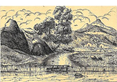 Fountain Pen Art Drawing - Village Landscape