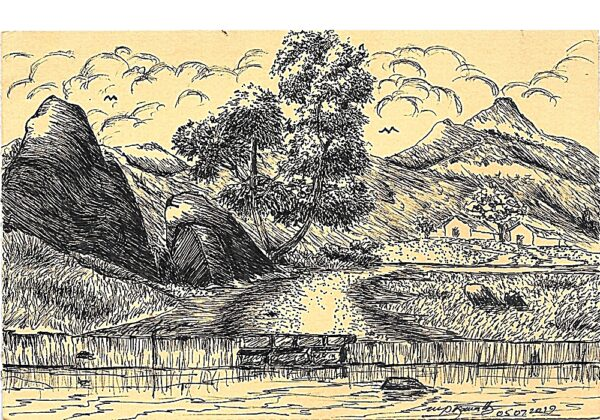 Fountain Pen Art Drawing - Village Landscape