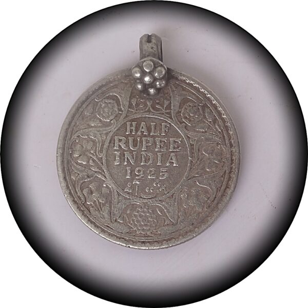 1925 Half Rupee King George V British India worth Value Collection - with Locket Ring