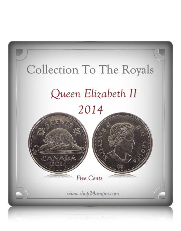 2014 5 Cents Queen Elizabeth II Canadian Nickel Coin Class