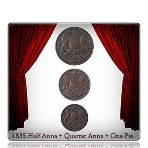 1835 Half Anna Quarter Anna 1 Pie