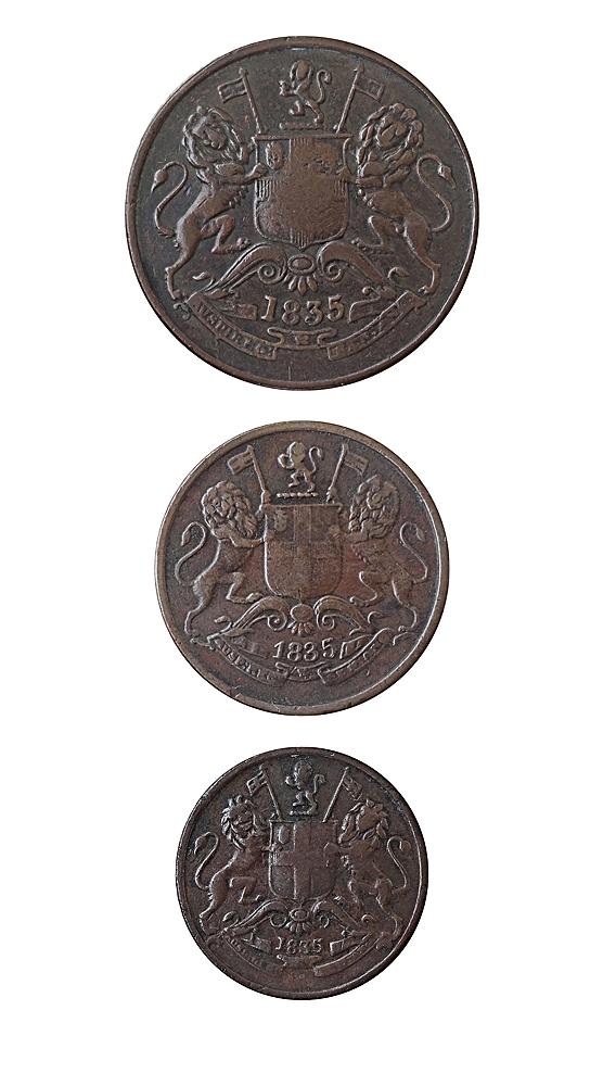 1835 Half Anna Quarter Anna 1 Pie (o)