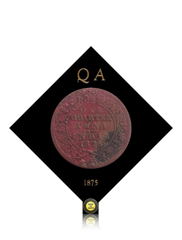 1875 1/4 Quarter Anna British India Queen Victoria