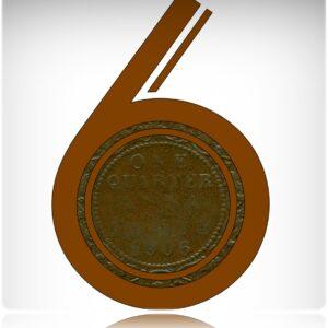 1906 1/4Quarter Anna Edward VII Calcutta Mint Bronze Coin