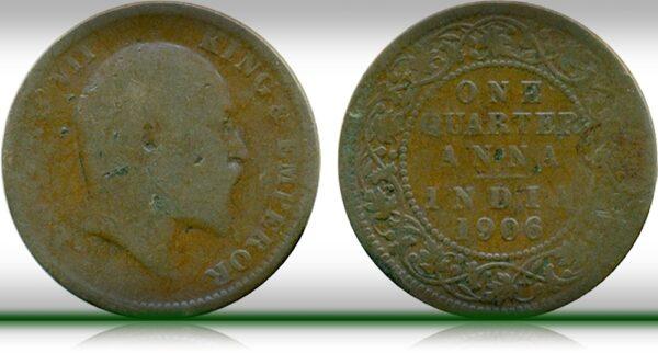 1906 Edward VII One Quarter Anna Calcutta Mint Coin value