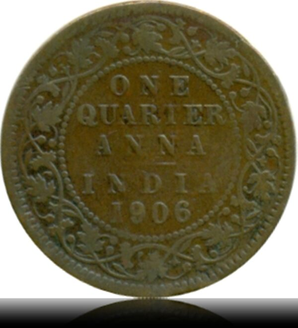 1906 Edward VII Quarter Anna Calcutta Mint R