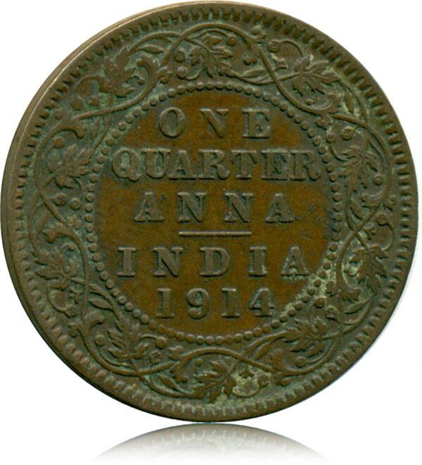 1914 Quarter Anna George V Calcutta Mint R
