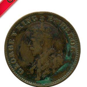 1918 George V One Quarter Anna Calcutta Mint