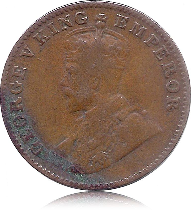 1927 George V King Emperor One Quarter Anna Bombay Mint O