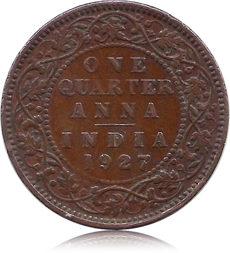 1927 One Quarter Anna Calcutta Mint George V King Emperor R