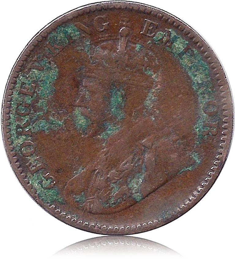 1929 One Quarter Anna Calcutta Mint George V King Emperor O