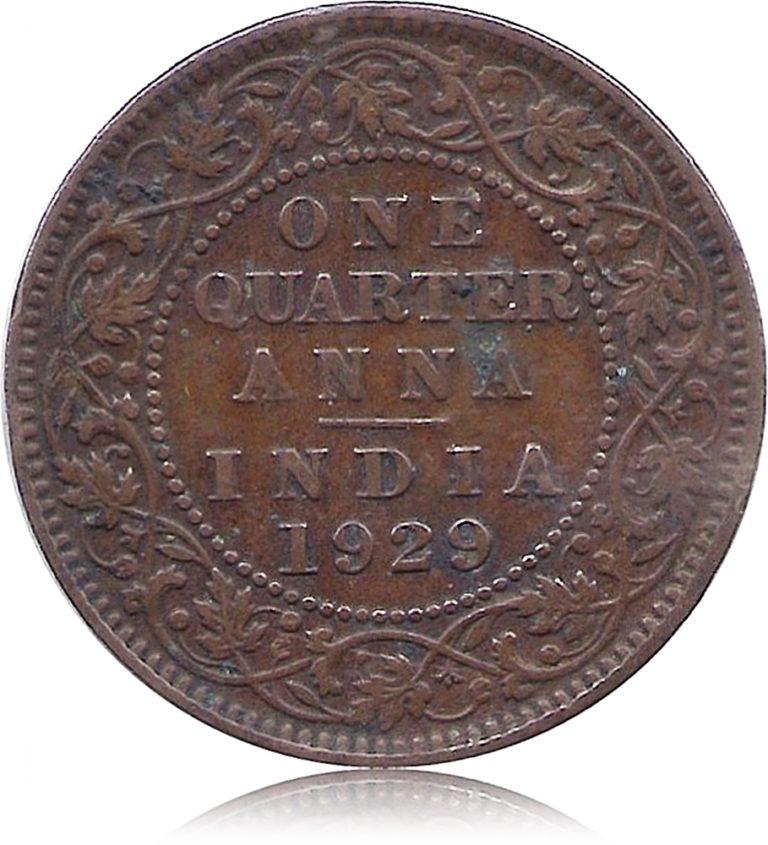 1929 One Quarter Anna Calcutta Mint George V King Emperor R