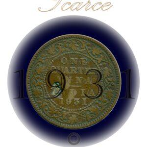 1931 1/4 Quarter Anna British India King George V