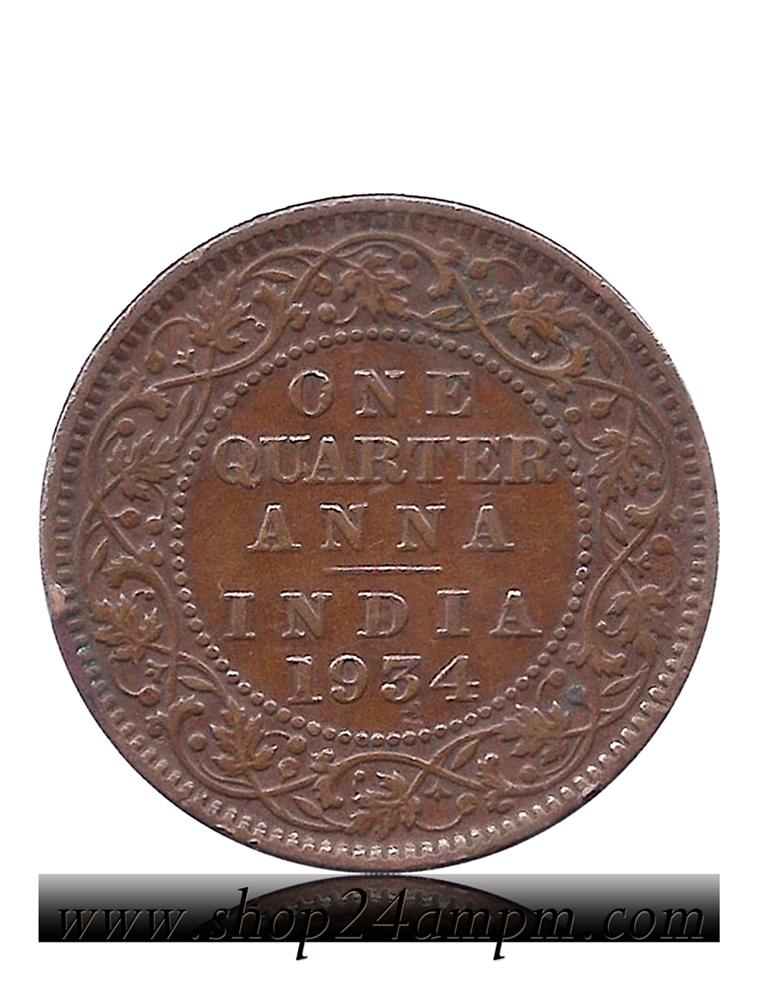 1934 One Quarter Anna George V King Emperor Calcutta Mint Coin Value