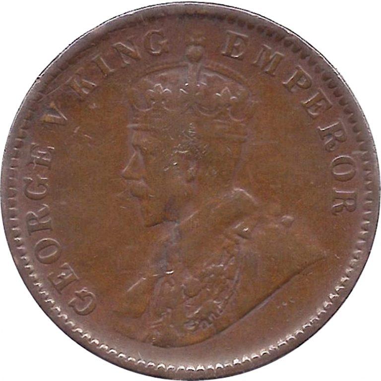 1934 One Quarter Anna George V King Emperor Calcutta Mint O