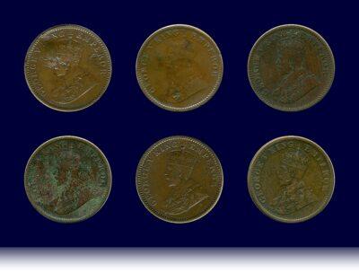 1935 1/4 Quarter Anna British India King George VO
