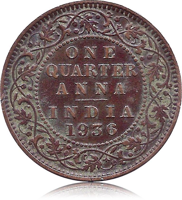1936 One Quarter Anna George V King Emperor Calcutta Mint R