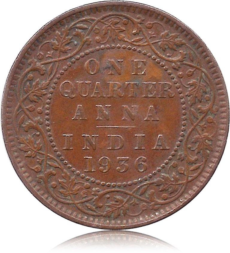 1936 One Quarter Anna George V King Emperor Calcutta Mint coin R