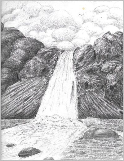 Waterfall Pencil Art Work