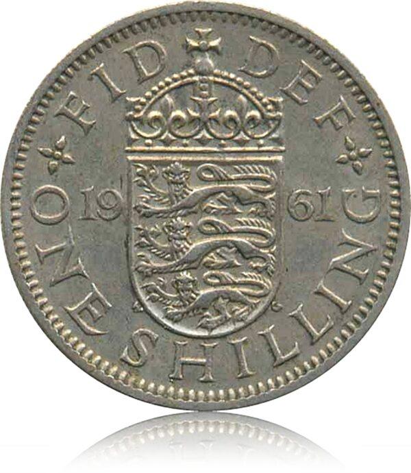 1961 One Shilling Coin Queen Elizabeth II R