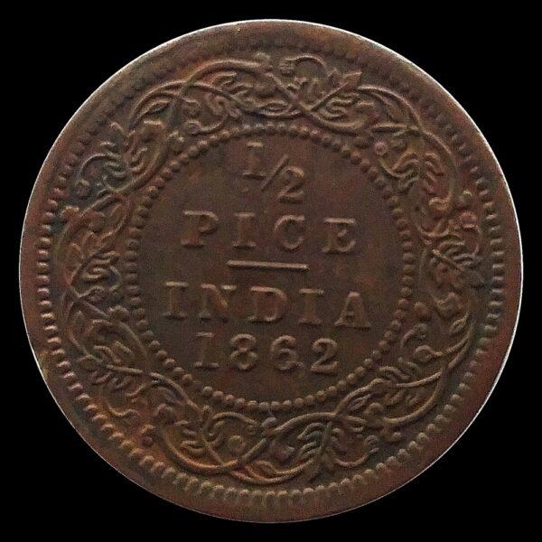 1862 1/2 Half Pice British India Queen Victoria Empress R