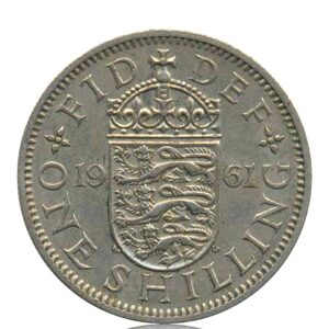 1961 One Shilling Coin Queen Elizabeth II