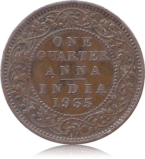 George V King Emperor One Quarter Anna 1935 Calcutta Mint R