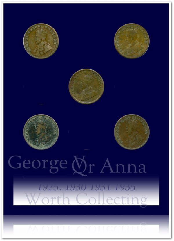 KGV 5 COINS QUARTER ANNA 1925 1930 1931 1935
