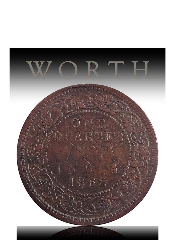 1862 1/4 Quarter Anna British India Queen Victoria