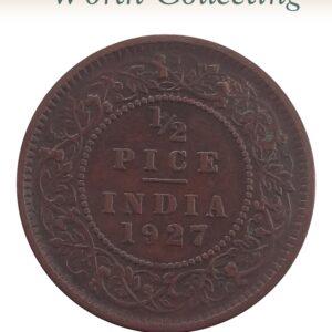 1927 1/2 Half Pice Coin British India King George V