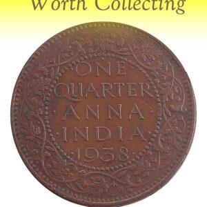 1938 1/4 Quarter Anna Coin British India King George VI