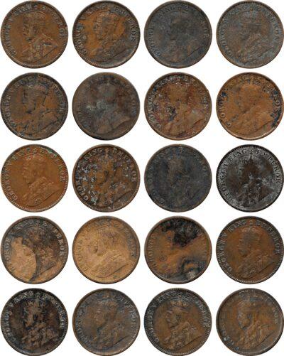 1917 1919 1924 1925 1926 1927 1930 1/4 Quarter Anna British India King George VO