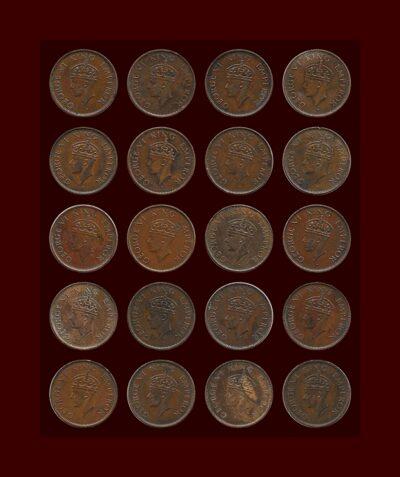 1940 1/4 Quarter Anna British India King George VIO