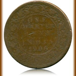 One Quarter Anna 1906 King Edward VII Calcutta Mint