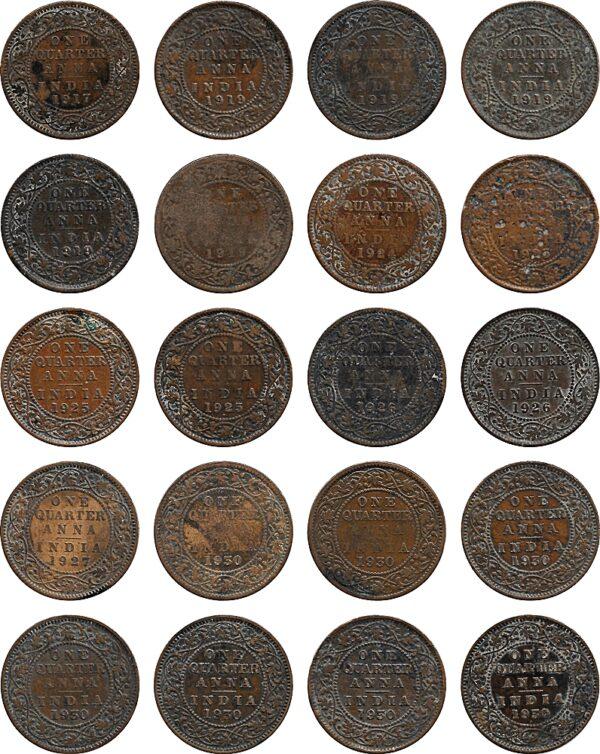 1917 1919 1924 1925 1926 1927 1930 1/4 Quarter Anna British India King George VR