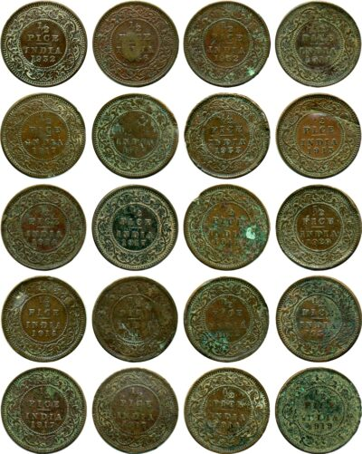 1/2 Half Pice Coins Mixed Lot British India King George VR