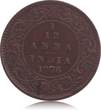 1876 1/12 Twelve Anna British India Queen VictoriaR