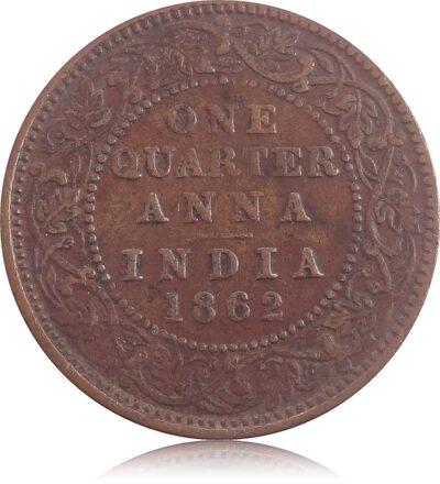 1862 1/4 Quarter Anna British India King Queen Victoria R
