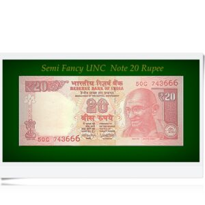 Semi Fancy UNC 20 Rupee Note E-50C 743666 20 Rupee Note Sign by Urjit Patel 2017Semi Fancy UNC 20 Rupee Note E-50C 743666 20 Rupee Note Sign by Urjit Patel 2017