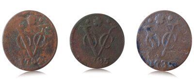 VOC 1734 1735 1736 Set of 3 Coins O
