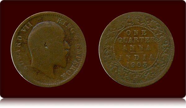 1903 1/4 Anna Coin Edward VII