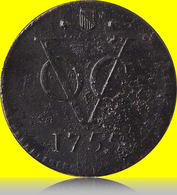 1755 VOC HALF DUIT United East India Company O