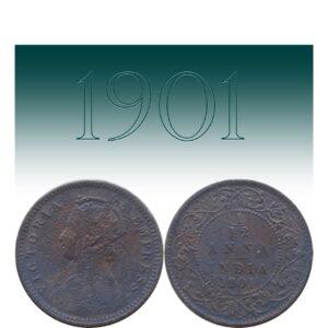 1901 Queen Victoria 1 by 12 Anna coin