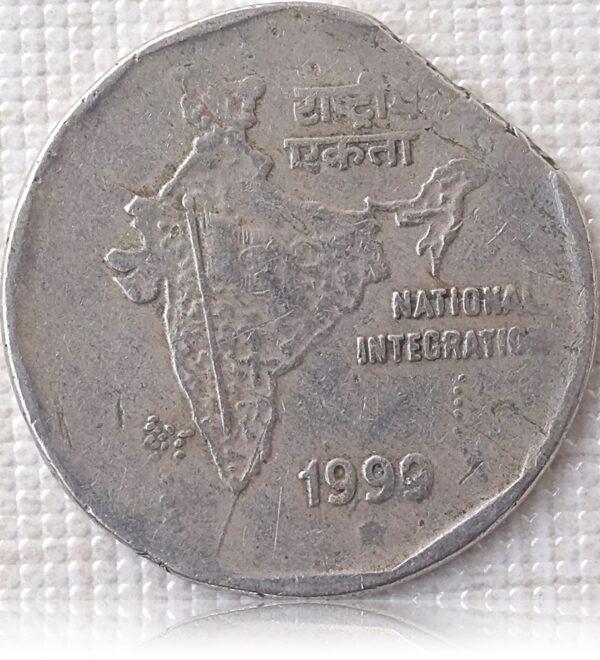 1999 2 Rupee eRRor Coin R