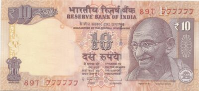 2012 10 Rupee Super Fancy Number Note 777777 Sig by Dr.Subbarao O